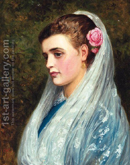 A young Beauty by Charles Sillem Lidderdale - Reproduction Oil Painting