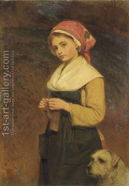 Knitting 2 by Charles Sillem Lidderdale - Reproduction Oil Painting
