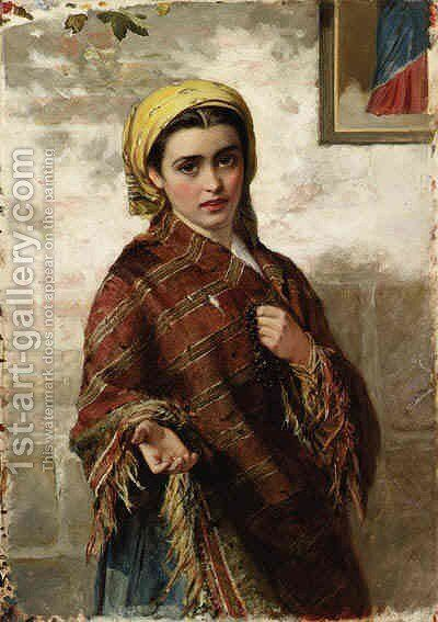 Peasant Girl by Charles Sillem Lidderdale - Reproduction Oil Painting