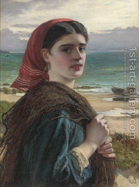 A fisher girl by Charles Sillem Lidderdale - Reproduction Oil Painting
