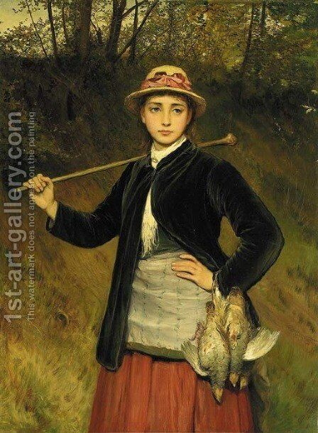 A young girl carrying partridges by Charles Sillem Lidderdale - Reproduction Oil Painting