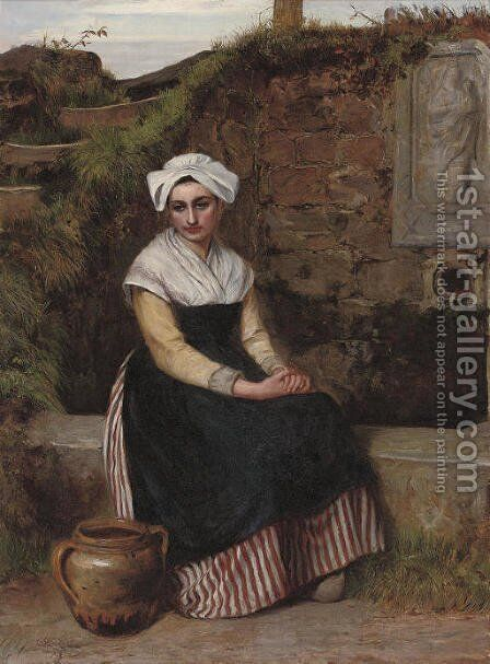 Resting beside the well by Charles Sillem Lidderdale - Reproduction Oil Painting