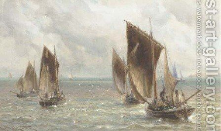 The fishing fleet heading out to sea by Charles Mottram - Reproduction Oil Painting