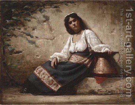 Contadina by Charles Sprague Pearce - Reproduction Oil Painting