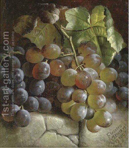 Grapes on a stone step by Charles Stuart - Reproduction Oil Painting