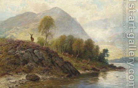 A stag with hinds by a loch by Charles Stuart - Reproduction Oil Painting