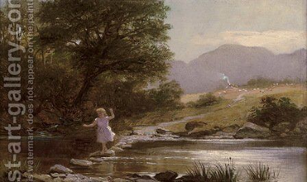 Stepping Stones by Charles Stuart - Reproduction Oil Painting