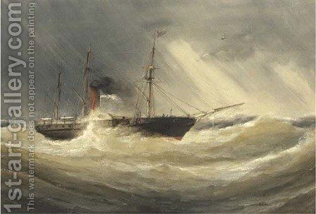 A paddle steamer in a squall by Charles Taylor - Reproduction Oil Painting
