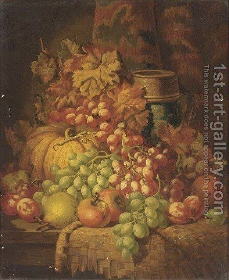 Grapes, apples, pears, plums, a gourd, and a stoneware tankard, on a ledge by Charles Thomas Bale - Reproduction Oil Painting
