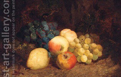 Grapes, Peaches, An Apple And A Pear, On A Mossy Bank by Charles Thomas Bale - Reproduction Oil Painting