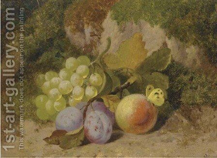 Grapes, plums, a peach and a butterfly, on a mossy bank by Charles Thomas Bale - Reproduction Oil Painting