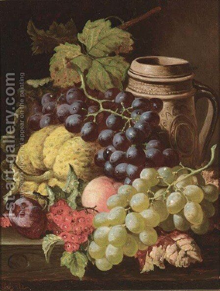 Grapes, redcurrants, plums, a peach, a gourd, and a stoneware tankard, on a wooden ledge by Charles Thomas Bale - Reproduction Oil Painting