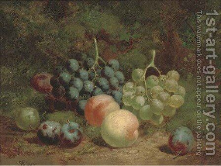 Peaches, grapes and plums on a mossy bank by Charles Thomas Bale - Reproduction Oil Painting