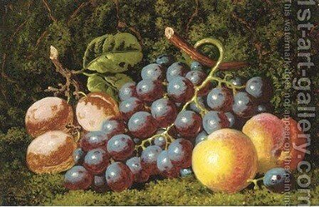 Plums grapes and peaches by Charles Thomas Bale - Reproduction Oil Painting