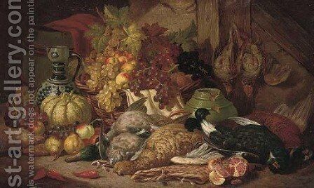 Dead game, fruit, a vase and ewer in a timbered interior by Charles Thomas Bale - Reproduction Oil Painting