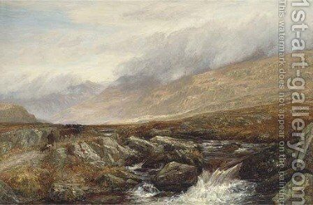 A drover and his cattle on a Highland track beside a rocky stream by Charles Thomas Burt - Reproduction Oil Painting