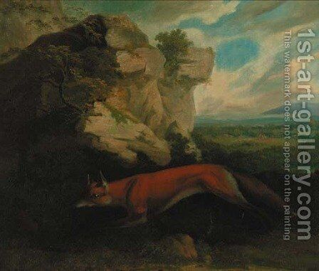 A fox by a rocky outcrop, a hunt beyond by Charles Towne - Reproduction Oil Painting