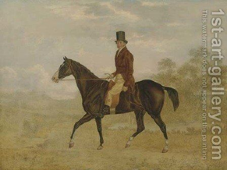 A Gentleman on a Bay Hunter in an Extensive Landscape, unfinished by Charles Towne - Reproduction Oil Painting