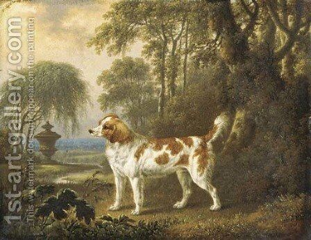 A Marlborough spaniel in a wooded landscape, an urn beyond by Charles Towne - Reproduction Oil Painting
