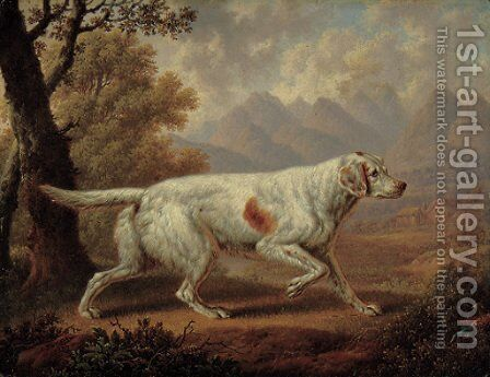 An English Setter in a wooded landscape, with pheasants in the foreground and mountains beyond by Charles Towne - Reproduction Oil Painting