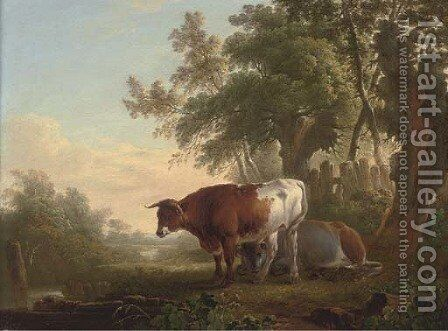 Cattle on a riverbank by Charles Towne - Reproduction Oil Painting