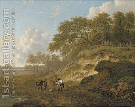 Horsemen resting by an escarpment by Charles Towne - Reproduction Oil Painting