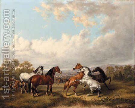 Horses in a Meadow by Charles Towne - Reproduction Oil Painting