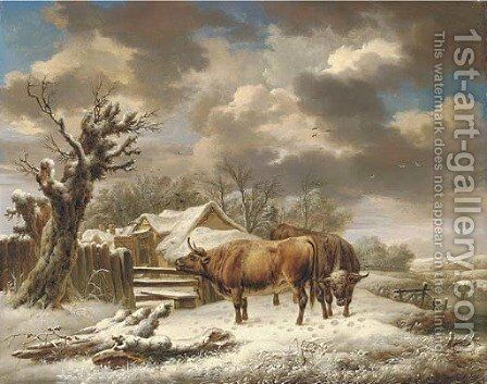 Livestock in a winter landscape by Charles Towne - Reproduction Oil Painting