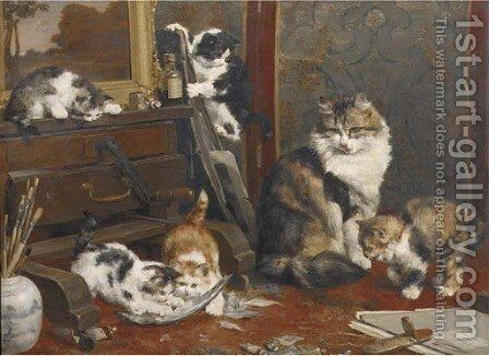 In the artists's studio a mischevious game by Charles van den Eycken - Reproduction Oil Painting