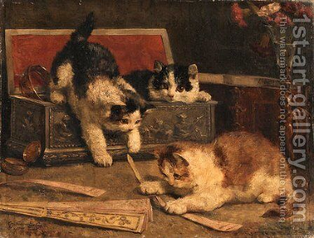 Kittens playing in the jewel box by Charles van den Eycken - Reproduction Oil Painting