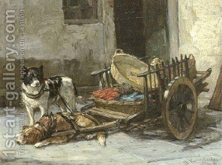 Les chiens se reposent by Charles van den Eycken - Reproduction Oil Painting