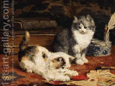 Kittens at Play 2 by Charles van den Eycken - Reproduction Oil Painting
