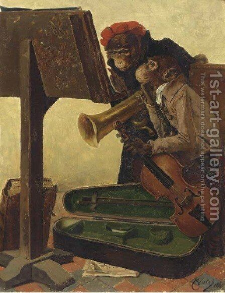 Musical monkeys by Charles Verlat - Reproduction Oil Painting