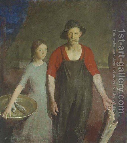 Fisherman and his Daughter by Charles Webster Hawthorne - Reproduction Oil Painting