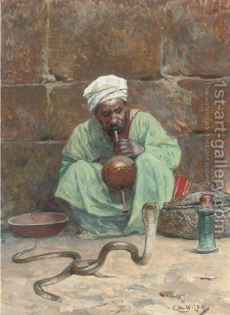 The snake charmer by Charles Wilda - Reproduction Oil Painting