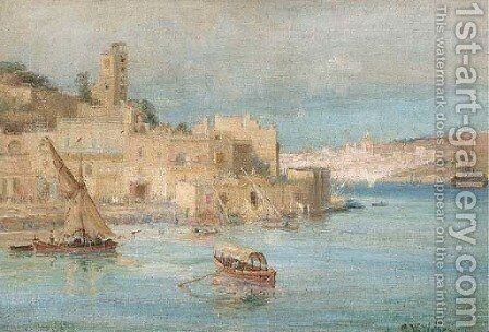 Feluccas amidst other shipping in a North African port by Charles William Wyllie - Reproduction Oil Painting