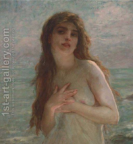 A maiden on the shore by Charles Amable Lenoir - Reproduction Oil Painting