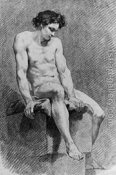 A Nude Youth seated on a Plinth by Carle van Loo - Reproduction Oil Painting