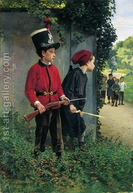 The ambush by Charles Bertrand D'entraygues - Reproduction Oil Painting