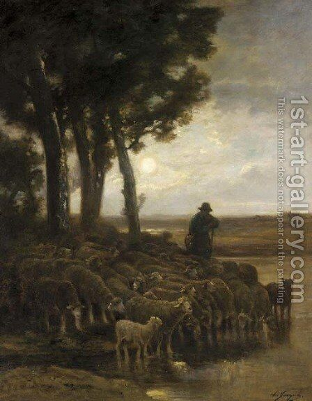 A Shepherd and his Flock in a Moonlight Landscape by Charles Émile Jacque - Reproduction Oil Painting