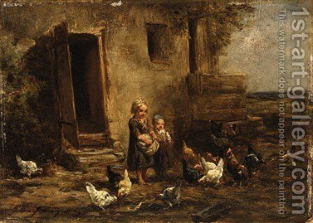 Children feeding the chickens by Charles Émile Jacque - Reproduction Oil Painting