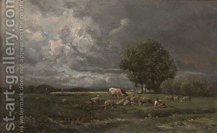 Shepherds grazing their flock by Charles Émile Jacque - Reproduction Oil Painting