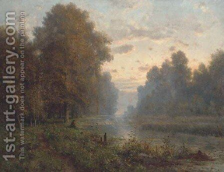 Angling at dusk by Charles-Felix-Edouard Deshayes - Reproduction Oil Painting