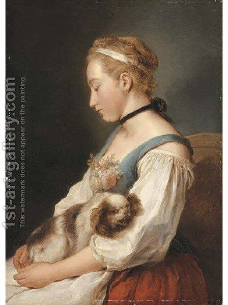 Portrait of a young woman, half-length, holding a spaniel by Charles-Francois Hutin - Reproduction Oil Painting
