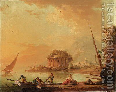 Fisherfolk pulling in their Nets at Dusk by a Mediterranean Harbour, a classical ruin beyond by Charles Francois Lacroix de Marseille - Reproduction Oil Painting