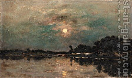 Bord de riviere au clair de lune by Charles-Francois Daubigny - Reproduction Oil Painting