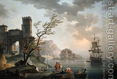 Morning a Mediterranean coast with fisherfolk, a fortified archway, a classical ruin and shipping beyond by Charles Francois Lacroix de Marseille - Reproduction Oil Painting