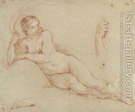 A reclining female Figure, with subsidiary studies of her arms by Charles Joseph Natoire - Reproduction Oil Painting