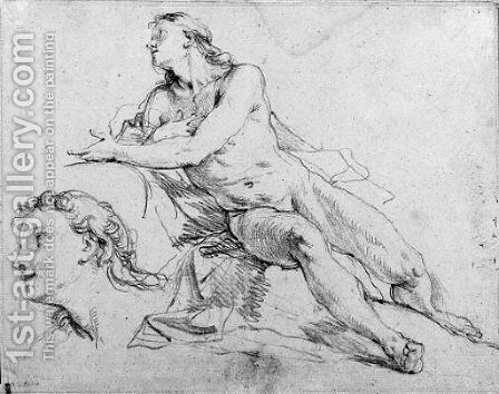 A reclining nude gesturing in profile to the left, with a subsidiary study of the head by Charles Joseph Natoire - Reproduction Oil Painting