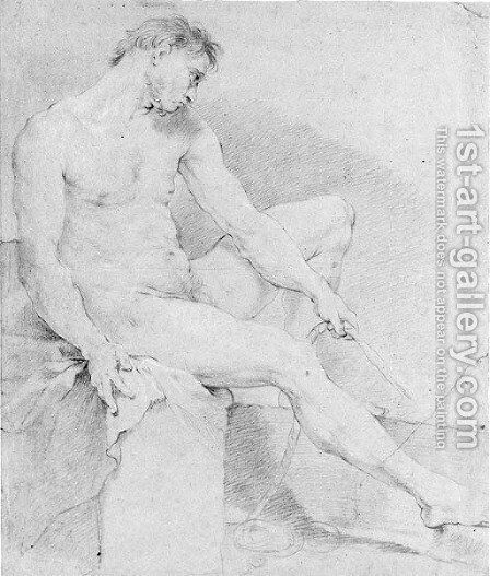 A seated nude turned to the right by Charles Joseph Natoire - Reproduction Oil Painting